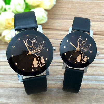Fashion Womens Mens Lovers Students Couple Watch Leather Band Quartz Wrist Watch