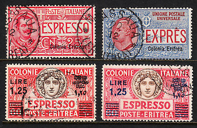 ERITREA — SCOTT E1//E8c — 1907-35 SPECIAL DELIVERY ISSUES — USED — SCV $336.00