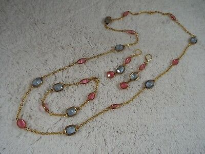 Pink Blue Faux Crystal Bezel Bead Necklace +Bracelet +Pierced Earrings (C72)