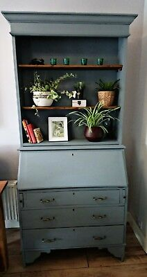 shabby chic oak painted antique welsh dresser writing bureau desk bookcase grey