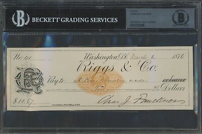 Charles Faulkner Signed Check AUTO Autograph Beckett BAS