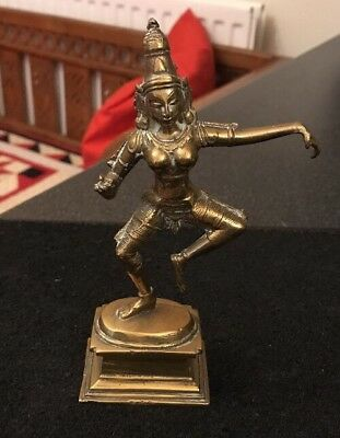 Vintage Old Brass / Bronze Collectable Hindu Dancing Goddess Statue Figure