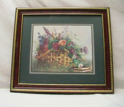 """Home Interior Homco""""Basket of Flowers""""Print""""Picture""""Cherry Gold Frame"""