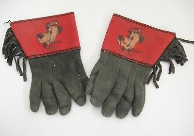 Huckleberry Hound Kids Gloves with Fringe Vintage Toy Hucks Head on Red Small