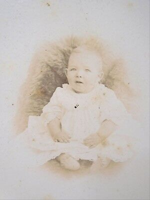 Cabinet Card Photo Small Baby in White Sitting on Fur