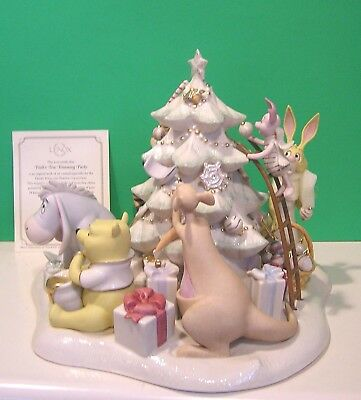 LENOX Disney POOH'S TREE TRIMMING PARTY sculpture NEW in BOX with COA