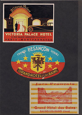 France Monaco Hotel Advertising Luggage Label Poster stamp Lot3 Collection of 24