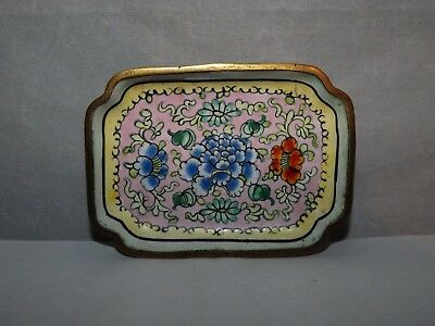 Antique Vintage Cloisonne Enamel Pin Tray Trinket Dish Floral Flowers Blue Green