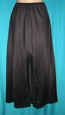 *woderful Black Long Lace Trimed Van Ralte Vintage Half Slip**l***lingerie