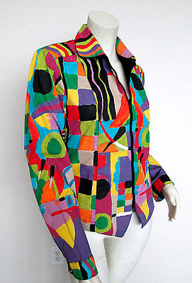 Vintage Couture Jacket Mod Gay Pride Retro 80's Rainbow One Of A Kind Art Deco