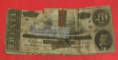 1864 $20 US Confederate States of America! Rough! Old US Paper Currency