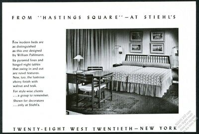 1953 William Pahlmann modern table chair bed photo Stiehl's NYC vintage print ad