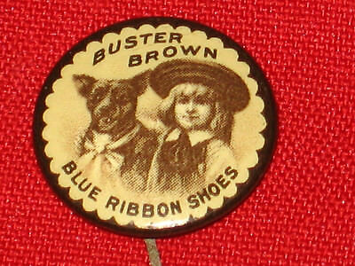 Vintage 1890'S Buster Brown Shoes Advertising Pin, Pinback Button, Badge