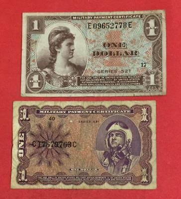Military Payment Certificates $1 Set of 2 Different MPCs! Old US Paper Currency