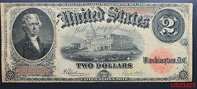 Two Dollar Series 1917 CIRCULATED LARGE BANK NOTE Speelman/White Red Seal
