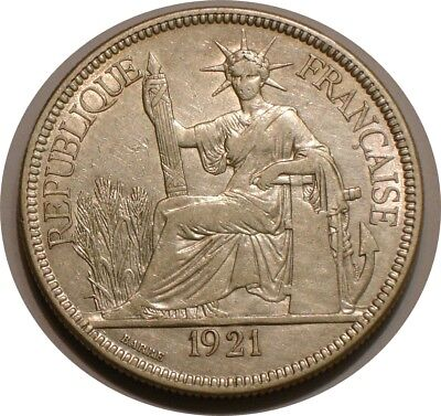 1921 Silver Piastre of French Indo China / Vietnam FULL DETAIL
