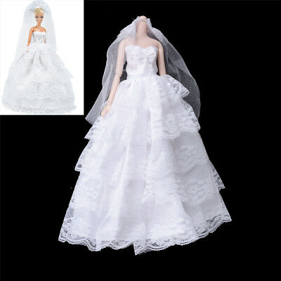 Handmade   Dolls Wedding Bridal Dress Princess Gown Evening Party Clothes ~