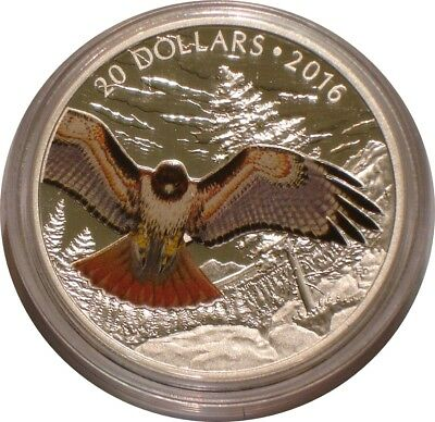 2016 Silver $20 Twenty Dollars of Canada RED TAILED HAWK GEM PROOF