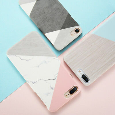 Glossy Granite Marble Contrast Color Hard Phone Case For iPhone X 8 7 6 6s Plus