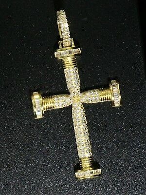 Chain Solid 925 Sterling Silver CZ Micro Pave Setting Jesus Cross Anchor