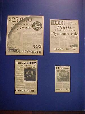 RARE VINTAGE ~Old Plymouth Auto Cars Automobile Newspaper AD LOT~ ANTIQUE 1920s+