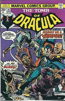 """The Tomb Of Dracula """"blade Appears"""" #30 (1975) Gene Colan Marvel Comics V/f"""