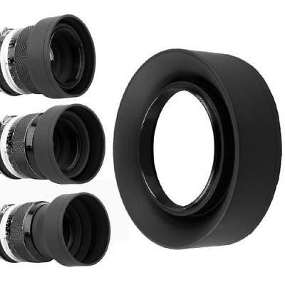 1pc 3 in 1 Collapsible Rubber Foldable Hood 52mm DSIR Lens For Canon Nikon Black