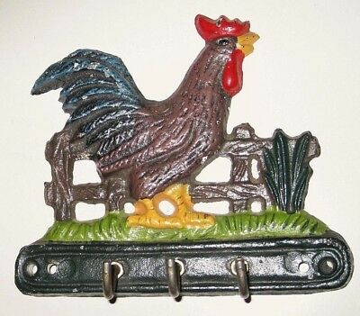 Vintage Cast Iron ROOSTER CHICKEN Kitchen Wall TOWEL Key HOOKS Farm Ranch Decor