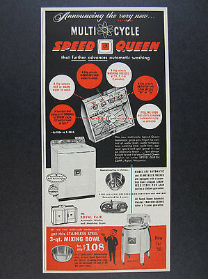 1956 Speed Queen Multi-Cycle Washing Machine laundry vintage print Ad
