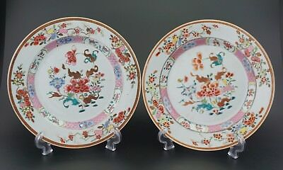 FINE! Pair Antique Chinese Porcelain Famille Rose Bowl Plate Charger 18th C
