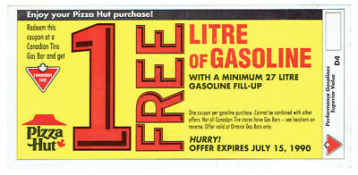1990 Free Litre of Gas Coupon at Canadian Tire from Pizza Hut