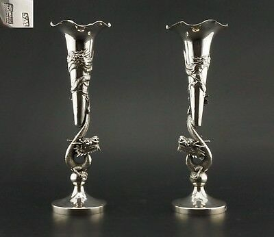 SUPERB! Large Pair Antique 19th C Chinese Solid Sterling Silver Dragon Vase QING