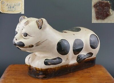 LARGE Antique Chinese Porcelain Cizhou Style Cat Shaped Pillow Approval Seal
