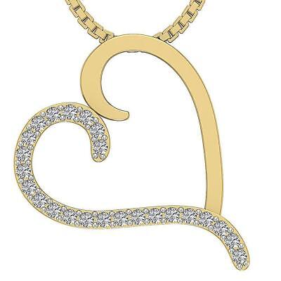 Genuine Diamond Heart Pendant VVS1 F Prong Set 0.40Ct 1.00 Inch 14Kt Solid Gold