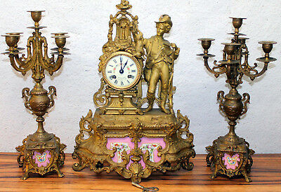 Antique French figural Mantel Clock SÈVRES porcelain+Chandeliers S.Marti&Cíe1889