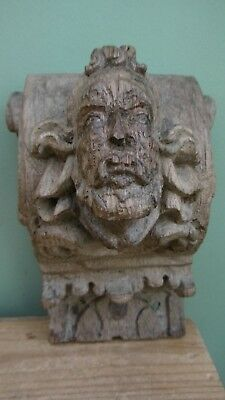 SUPERB 16thc ARCHITECTURAL EARLY OAK CARVED CORBEL WITH MALE HEAD C.1580's