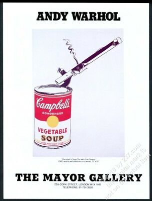 1987 Andy Warhol Campbell's Soup can art London gallery vintage print ad