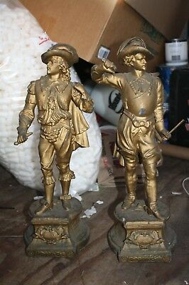LARGE ANSONIA c. 1900 DON JUAN & DON CAESAR SPELTER CLOCK STATUES TOPPERS