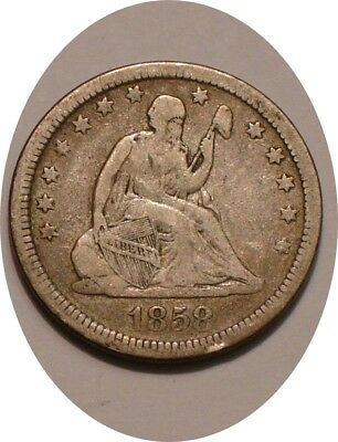 1858 P Seated Liberty Quarter nice Strong DETAIL