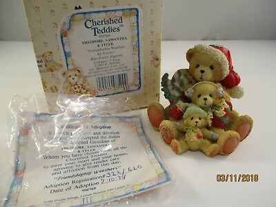 """Cherished Teddies Theodore, Samantha and Tyler """"Friendship Weathers All Storms"""""""
