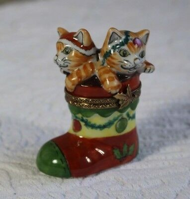 Limoges French Porcelain Cats in Christmas Boot Trinket Box Signed By Artist
