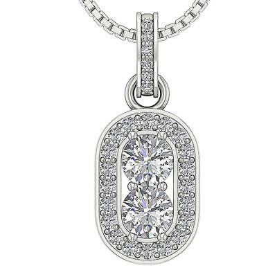 Forever Us 2 Stone Round Diamond Halo Pendant 1.00Ct 14Kt White Gold 0.85Inch