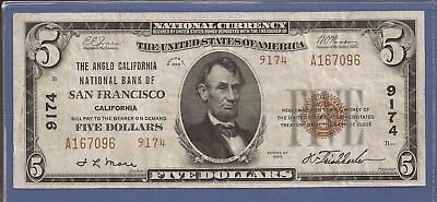 1929 $5 National Currency,Ch 9174 T-2,The Anglo CA NB of San Francisco,VF,Nice!