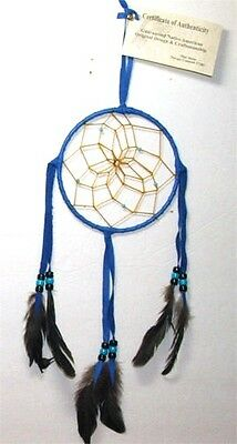 "Dreamcatcher Native American made Blue 5"" dia hoop FREE SHIPPING #410"