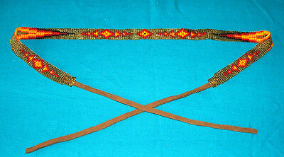 "Beaded Hatband Geometric Cowboy Cowgirl Western 20"" + 8"" leather ties ea end #02"