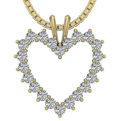 Heart Pendant Necklace 0.50Ct I1 H Real Diamond 0.80Inch White Yellow Rose Gold