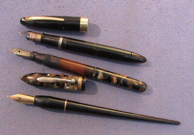 Lot Of 3 Vintage Fountain Pens Remington - Sheaffer - Dip Pen