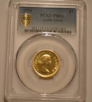 1958 GOLD Pound of South Africa PCGS PR 66 Population of 4 with 1 finer