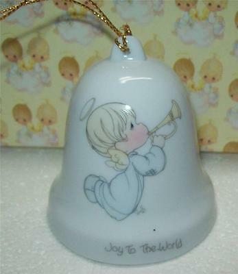 """Vintage1985 Enesco PRECIOUS MOMENTS Christmas Hanging  Bell """"JOY TO THE WORLD"""""""