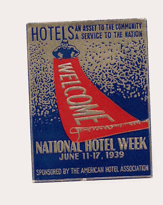 Hotel USA  Advertising Luggage Label Poster stamp 1939 Collection National Week